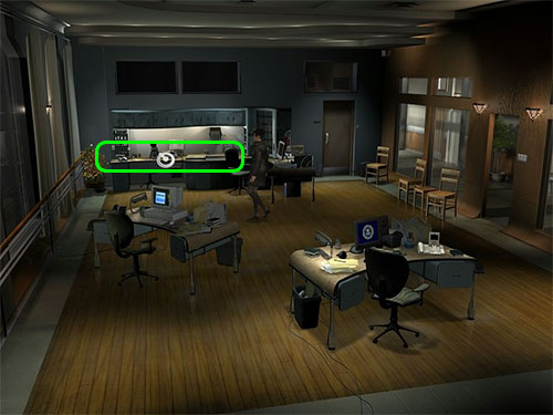In the Office you'll find the equipment for talking fingerprints along the wall next to Claire's desk.