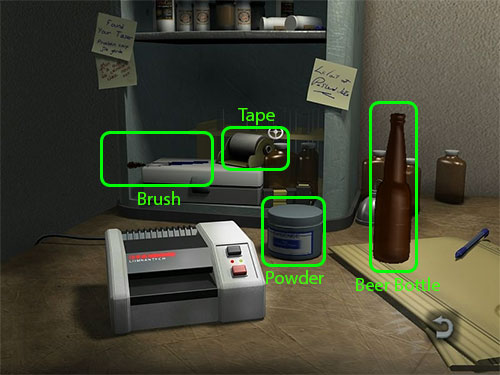 Here you have all the equipment you need to take the fingerprint on the Beer Bottle.
