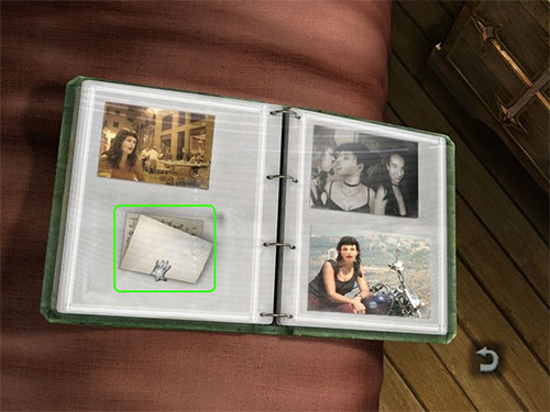 You can find Mia's Photo Album on her bed. Look at it and then take the note in the bottom left photo spot.