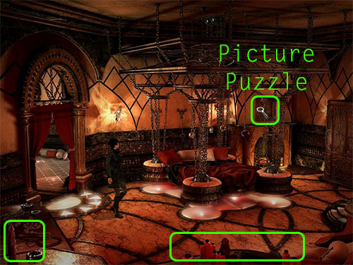 The picture puzzle is above the fireplace on the right side of the bed, toward the top right corner of the screen.